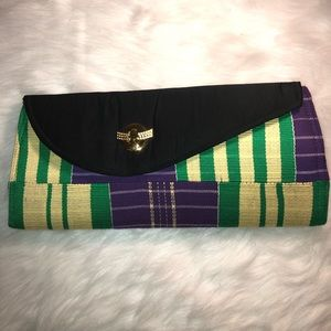 African material clutch bag.
